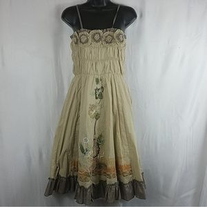 Humming Tan Floral Embroidered Smocked Dress Md